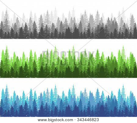 Forest Different Season Summer, Winter And Dark Forest Collection. Pine, Spruce And Christmas Tree P