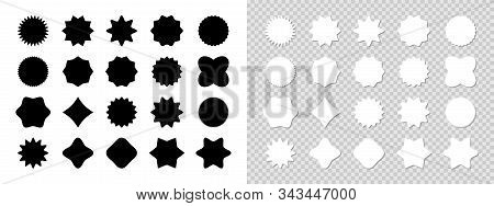 Stickers Black And White Collection. Stickers Isolated. Set Of Stickers For Price, Promo, Quality An