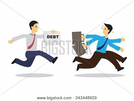 Worried Businessman Running Away From His Debt Collector. Business Concept Of Debtor, Financial Prob