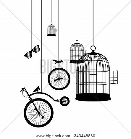 Suspended Objects Concept Illustration - Birdcages Icon Collection Vector