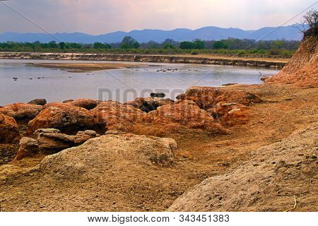 Evening Photo Of Luangwa River, South Luangwa National Park Border. Hdr Photo.african River With Hip