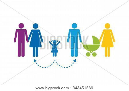 Colorful Patchwork Family Concept Pictogram Vector Illustration Eps10