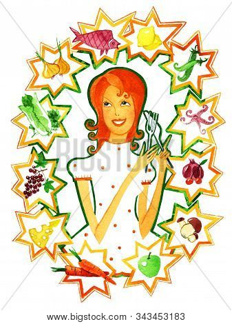 Girl Surrounded By Stars With The Image Of Products According To The Zodiac Signs. Gastronomic Zodia