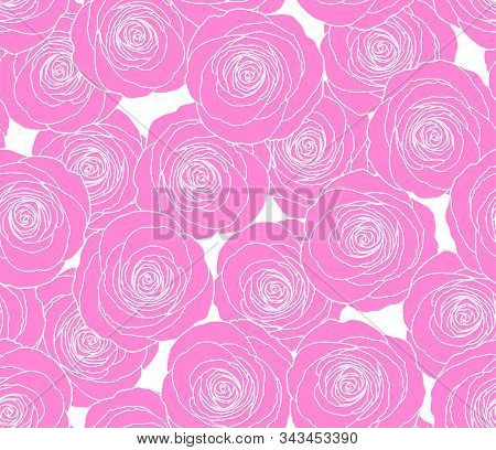 Pink Rose Flower Vector Pattern. Cite Floral Seamless Background. Elegant Tiffany Roses. Holiday, Fe