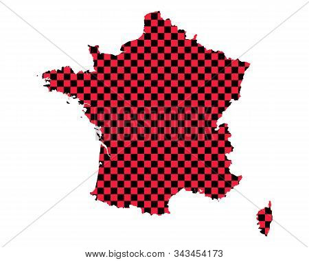Detailed And Accurate Illustration Of Map Of France In Checkerboard Pattern
