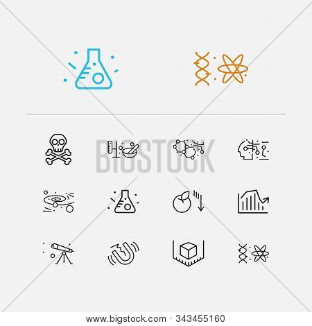 Physics Icons Set. Quantum Physics And Physics Icons With Nanotechnology, Danger And Gynaecology. Se