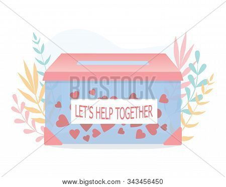 Donation Concept. Hearts In The Box As A Methaphor Of Philanthropy.