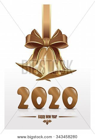 Christmas Design For New Year 2020 With Jingle Bells. Christmas Greeting Card 2020. Vector Illustrat