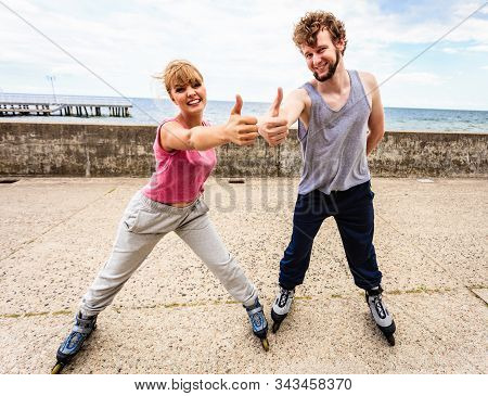 Outdoors Activities Sport And Hobby. Exercises For Healthy And Strong Body.. Friends Stretch Togethe