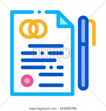 Pre-nuptial Agreement Sign Thin Line Vector Icon. Prenuptial Agreement On Paper List And Pen Linear