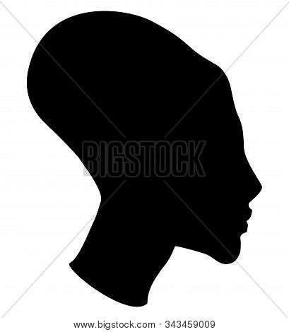 Profile Of A Girl With An Elongated Skull In The Egyptian Style. Sign, Silhouette. Vector.