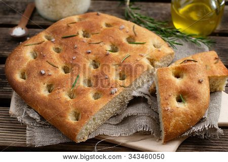 Healthy Italian Flat Bread Focaccia With Whole Wheat Flour And Sea Salt