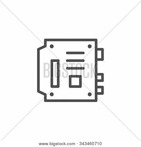 Computer Motherboard Line Outline Icon Isolated On White. Mainboard, Main Circuit And System Board,