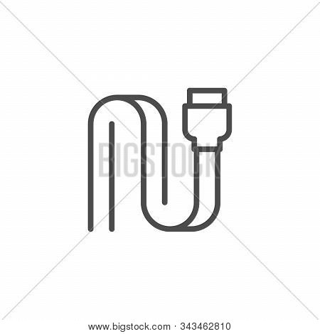 Sata Connector Line Outline Icon Isolated On White. Electronic Computer Component. Cable, Port To Co