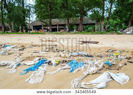 Pollutions And Garbages On The Beach In Thailand