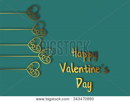 Heart Of Gold For Decorative Design. Valentines Day Background. Beautiful Abstract Image With Heart