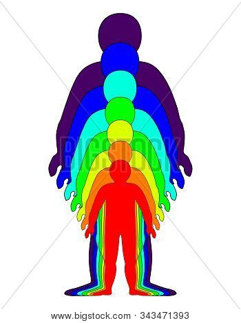 Spiritual Growth, Rainbow Color Marked Layers Of The Male Body. The Etheric, Emotional, Metallic, As