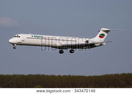 Budapest / Hungary - April 14, 2018: Bulgarian Air Charter Md-82 Lz-ldm Passenger Plane Arrival And
