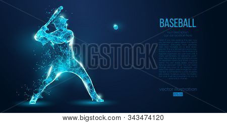 Abstract Baseball Player From Particles, Lines And Triangles On Blue Background. All Elements On A S