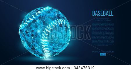 Abstract Baseball Ball From Particles, Lines And Triangles On Blue Background. All Elements On A Sep