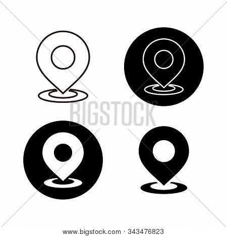 Set Of Pin Location Vector, Location Pin Icon Vector On White Background. Map Point Icon, Navigation