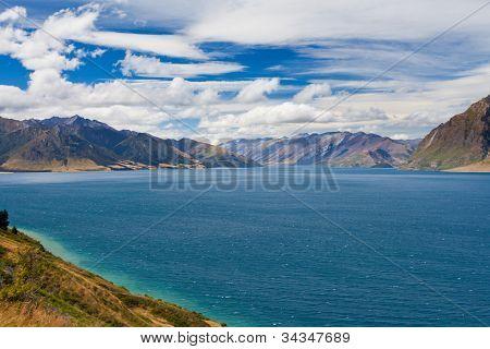 Blue surface of Lake Hawea, Central Otago, NZ