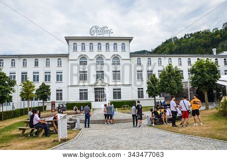 Broc, Switzerland - July 27, 2019: Visitors Waiting In Front Of The Building Of The Famous Cailler C