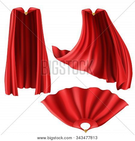 Red Superhero Cape, Cloak With Golden Pin Front And Top View. Flying And Fluttering On Wind Silk Clo