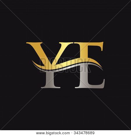 Initial Gold And Silver Ye Letter Linked Logo With Black Background. Creative Letter Ye Logo Design.
