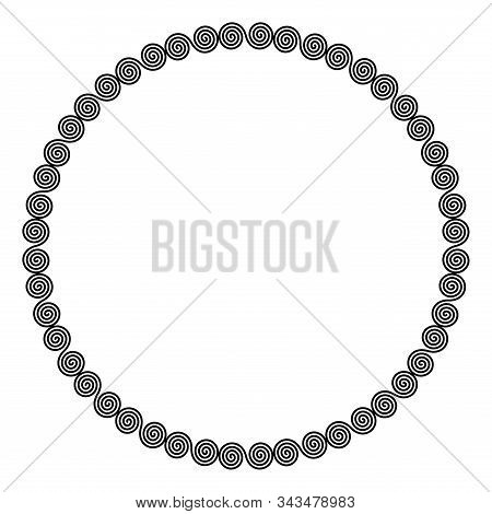 Circle Shaped Frame Of Linear Double Spirals. Interlocked, Combined Spirals, A Decorative Border, Co