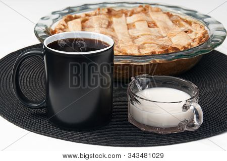 Black Coffee Cup Mockup With Peach Pie, Steaming Hot Coffee And Depression Era Vintage Pitcher With