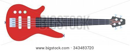 Red Electronic Guitar Vector Icon Flat Isolated Illustration