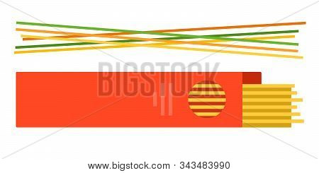 Colored Spaghetti With Spaghetti In A Box Vector Flat Isolated