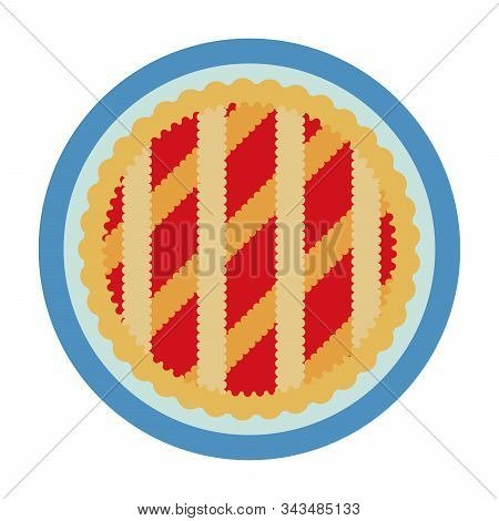 Open Pie With Jam Top View Vector Flat Isolated