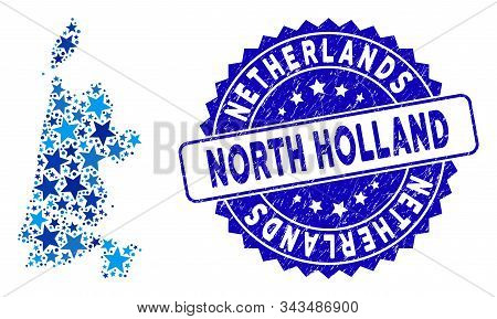 Blue North Holland Map Mosaic Of Stars, And Distress Round Stamp. Abstract Territory Plan In Blue Co