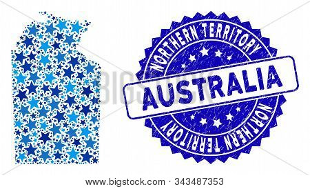 Blue Australian Northern Territory Map Collage Of Stars, And Distress Round Stamp Seal. Abstract Ter