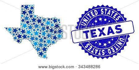 Blue Texas Map Composition Of Stars, And Grunge Round Stamp Seal. Abstract Territorial Scheme In Blu