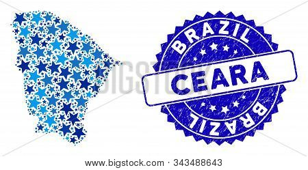 Blue Ceara State Map Collage Of Stars, And Scratched Round Seal. Abstract Territorial Scheme In Blue