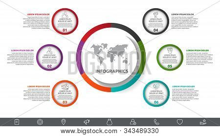 Vector Infographic With Main Circle And 6 Small Circles.. Circles With Icons For Six Diagrams, Graph