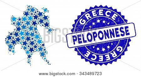 Blue Peloponnese Peninsula Map Mosaic Of Stars, And Textured Round Seal. Abstract Territory Plan In