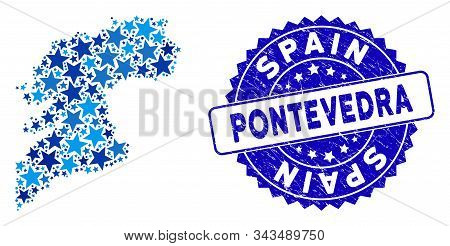 Blue Pontevedra Province Map Mosaic Of Stars, And Distress Rounded Stamp Seal. Abstract Territory Sc