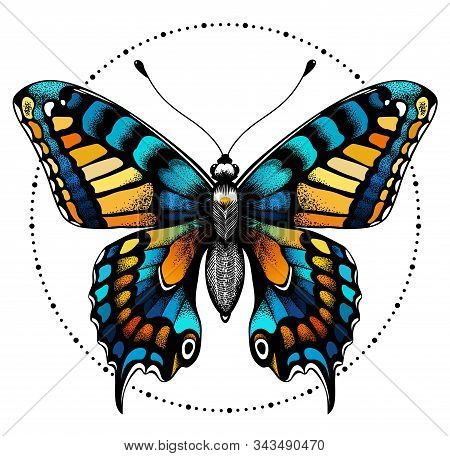 Beautiful Butterfly In Circle Of Beads. Symbol Of Immortality, Beauty And Transformation. Tattoo Des