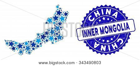 Blue Inner Mongolia Map Collage Of Stars, And Scratched Rounded Seal. Abstract Territorial Scheme In