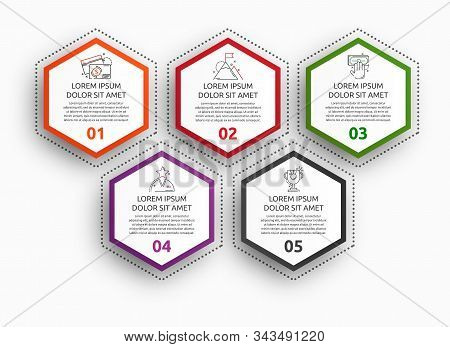 Vector Infographic With 5 Pentagons. Used For Five Diagrams, Graph, Flowchart, Timeline, Marketing,