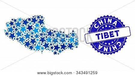 Blue Tibet Chinese Territory Map Composition Of Stars, And Distress Rounded Stamp. Abstract Geograph