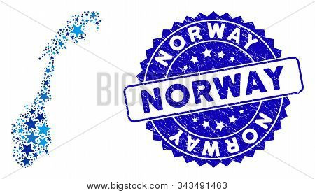 Blue Norway Map Composition Of Stars, And Grunge Round Stamp Seal. Abstract Territory Scheme In Blue