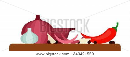 Red Onion, Garlic, Red Chilli And Black Peppercorns On A Wooden Board Side View Flat Single Icon Vec