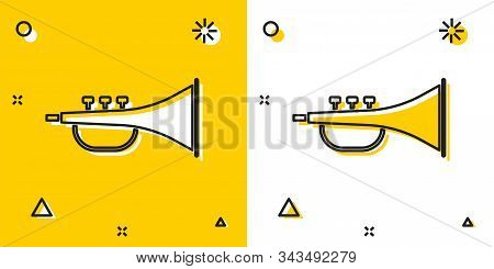 Black Musical Instrument Trumpet Icon Isolated On Yellow And White Background. Random Dynamic Shapes