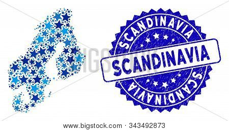 Blue Scandinavia Map Composition Of Stars, And Grunge Round Stamp Seal. Abstract Geographic Scheme I