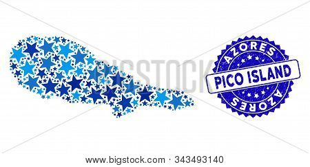 Blue Pico Island Map Mosaic Of Stars, And Textured Round Stamp Seal. Abstract Territorial Scheme In